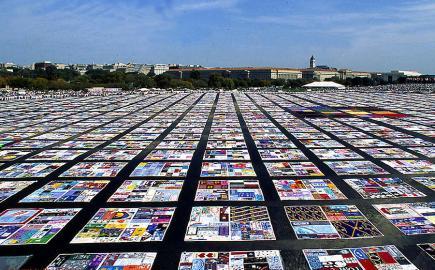 Bunte Quilts erinnern hier in Washington DC an die Aids-Toten