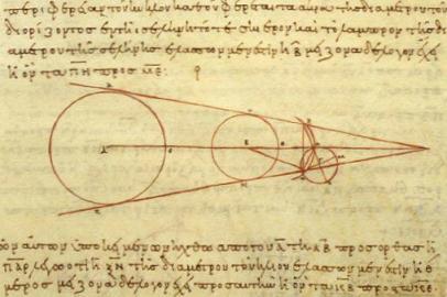 Aristarchs Berechnung der Entfernung von Erde, Mond und Sonne