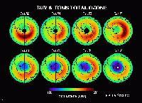 """Bilder des """"Total Ozone Mapping""""-Spektrometers der NASA (Oktober 1970 bis Oktobe"""
