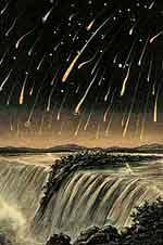 Gemälde, das den Meteorsturm von 1833 über den Niagara-Fällen zeigt
