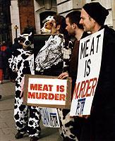 """""""Meat is Murder"""" – Fleisch ist Mord: Veganer lehnen jegliche tierische Produkte zum Verzehr oder Gebrauch ab."""