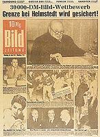"""Das erste Titelblatt der BILD: """"Deutschlands modernste Zeitung"""" besticht vor allem durch populäre Themenauswahl, kurze Texte und zahlreiche Fotos."""