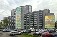 Blick auf das Verlagshaus des Axel Springer Verlags in Hamburg