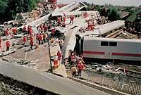 3.6.1998: Unglücksstelle des ICE-Chrashes in Eschede
