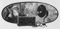 Anzeige aus The Illustrated London News: Santa Claus bringt ein Rundfunkgerät, Dezember 1923.