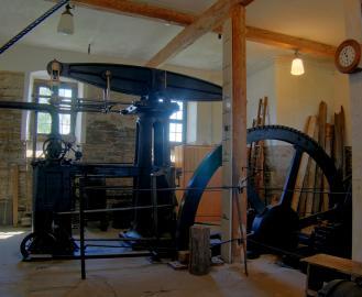Fördermaschine in einem Museumschacht in Freiberg