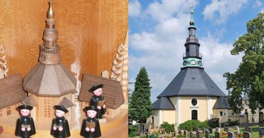 Seiffener Bergkirche als Schnitzmotiv und in der Außenansicht