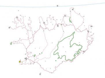 Kartenlayer Verkehr einer Islandkarte