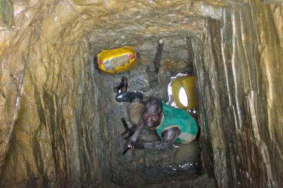 Bergarbeiter in Grube