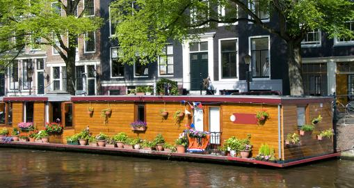 Hausboote in Amsterdamer Gracht
