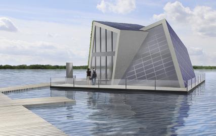 Gebäudeentwurf des Fraunhoferinstituts IVI für ein schwimmendes Haus