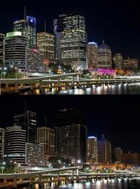 Brisbane kurz vor und während der Earth Hour 2012