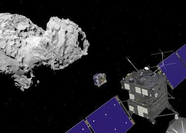 Raumsonde Rosetta und Landeeinheit Philae beim Kometen.