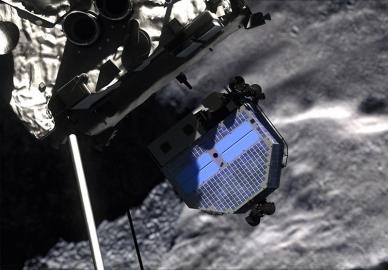 Die Landeeinheit Philae reiste zusammengeklappt per Huckepack mit der Raumsonde Rosetta zu seinem Ziel.