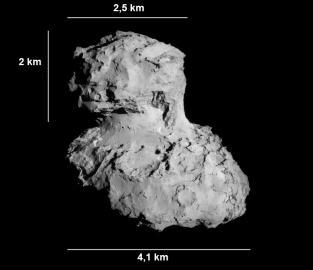 Der Komet Churyumov-Gerasimenko ähnelt ein bisschen einer Ente