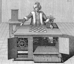 Zeitgenössische Darstellung des sogenannten Schachtürken