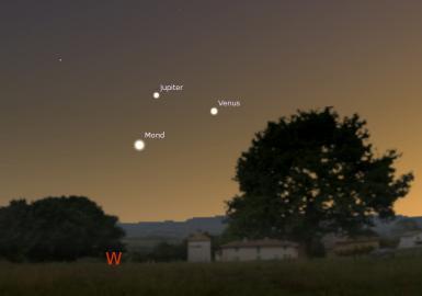 Dreieck Mond, Venus und Jupiter am 20. Juni