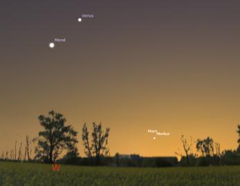 22. April - Mars und Merkur dicht beieinander über dem Westhorizont