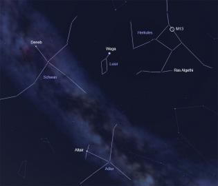 Sternbilder Herkules, Schwan, Adler und Leier