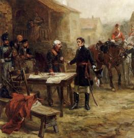 Gemälde Robert Alexander Hillingfords von treffen Wellingtons und Blüchers