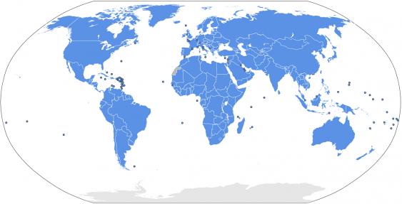 Karte der Mitgliedsstaaten der Vereinten Nationen
