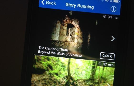 Story Run Screen der Runtastic-App