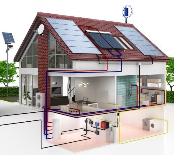 Schniitdarstellung  eines energieeffizienten Hauses