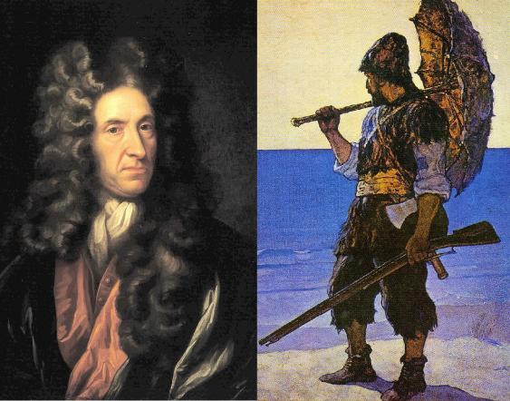 Porträt Daniel Defoes und Robinson Crusoe in einer Darstellung von N. C. Wyeth