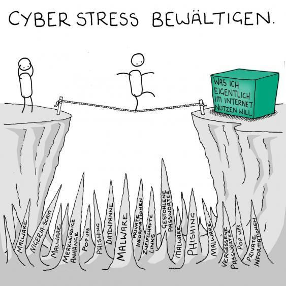 Balanceakt als Illustration zum Thema Cyberstress