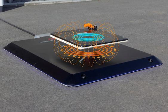 Spulensystem eines kabellosen Ladegerätes mit Feldlinien