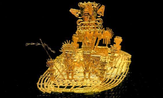Goldfloß der Muisca im Goldmuseum von Bogota