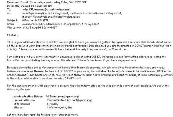 Screenshot der ersten deutschen Internet-E-Mail