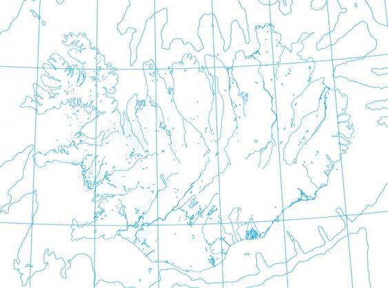 Kartenlayer Hydrografie einer Islandkarte