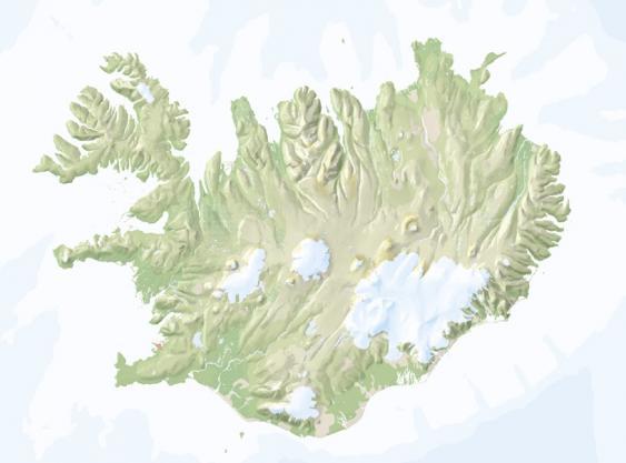 Kartenlayer Relief einer Islandkarte
