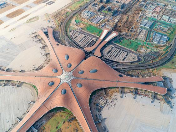 Luftbild des Flughafens Peking Daxing