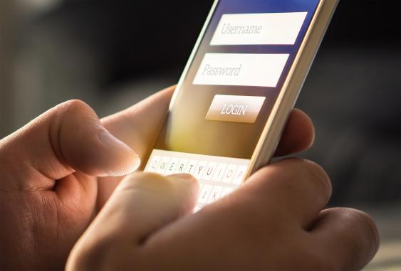 Login-Menü auf Smartphonescreen