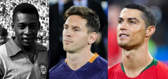 Porträts von Pelé, Messi und Ronaldo