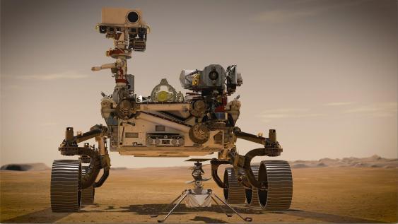 Rover Perseverance und Helikopterdrohne Ingenuity.
