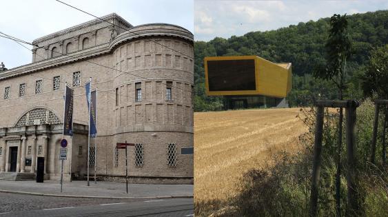 Front des Landesmuseums für Vorgeschichte in Halle und Gesamtansicht der Arche Nebra