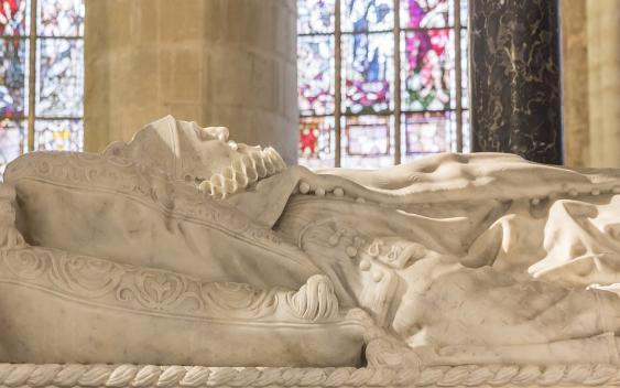 Grabmal Wilhelms von Oranien, Detail der Liegefigur aus Alabaster