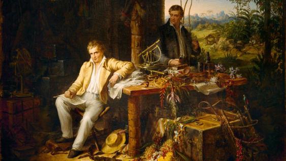 Alexander von Humboldt und Aimé Bonpland am Orinoco, Gemälde von Eduard Ender, 1856