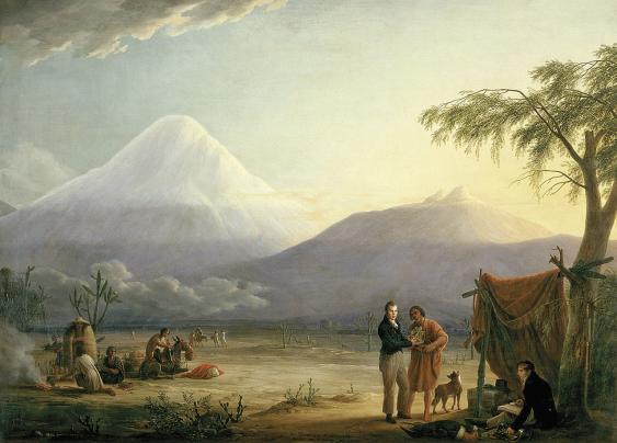 Humboldt und Aimé Bonpland am Fuße des Chimborazo, Gemälde von Friedrich Georg Weitsch, 1806