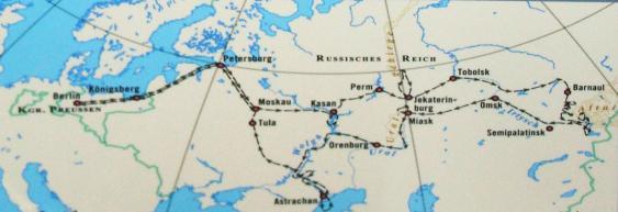 Karte der Russlandexpedition von 1829