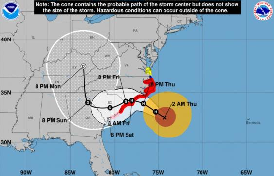 Infografik der NOAA zum Hurrikan Florence (2018)