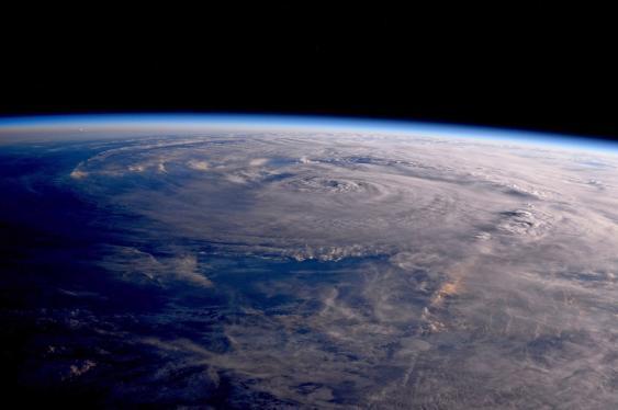 """Wirbelsturm """"Harvey"""" aus dem Orbit gesehen."""