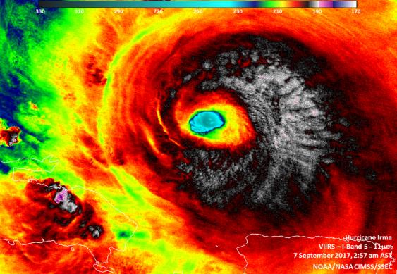 Infrarotaufnahme des Wirbelsturms Irma, 7. September 2017