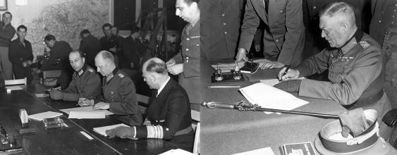 Kapitulationsunterzeichnungen in Reims und Berlin, 8. Mai 1945