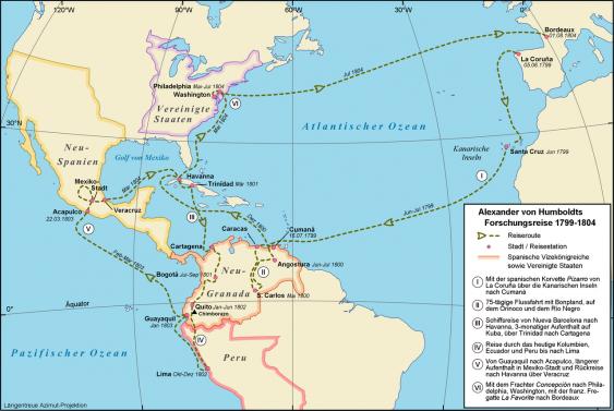 Karte mit der Reiseroute Alexander von Humboldts, 1799-1804