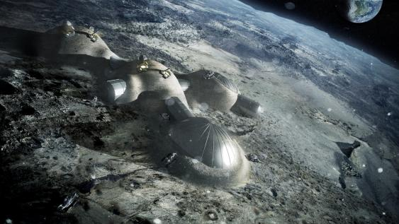 Visualisierung eines Monddorfes der ESA
