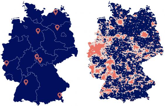 Deutschlandkarten mit Standorten der Sternenparks und zur Lichtverschmutzung